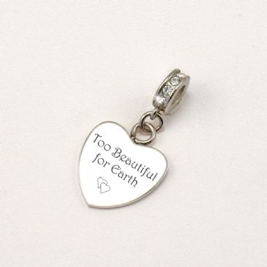 Too Beautiful for Earth, Engraved Memorial Charm | Someone Remembered
